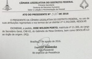A pedido, secretário-geral da Câmara Legislativa do DF é exonerado