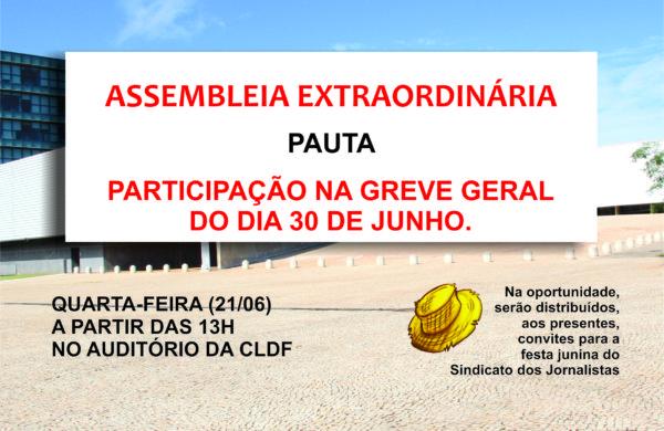 HOJE, 21 DE JUNHO, ÀS 13H, NO AUDITÓRIO DA CLDF